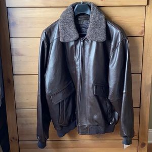 NWT! Claiborne Brown Leather Bomber Jacket / XL